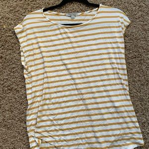 White and yellow striped top